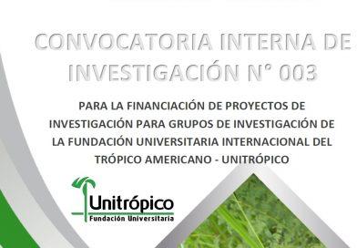 Convocatoria Interna de Investigación  N° 003 de 2019