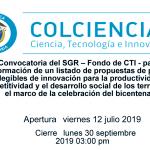 Convocatoria del SGR – Fondo de CTI – para la conformación de un listado de propuestas de proyectos elegibles de innovación para la productividad, la competitividad y el desarrollo social de los territorios, en el marco de la celebración del bicentenario